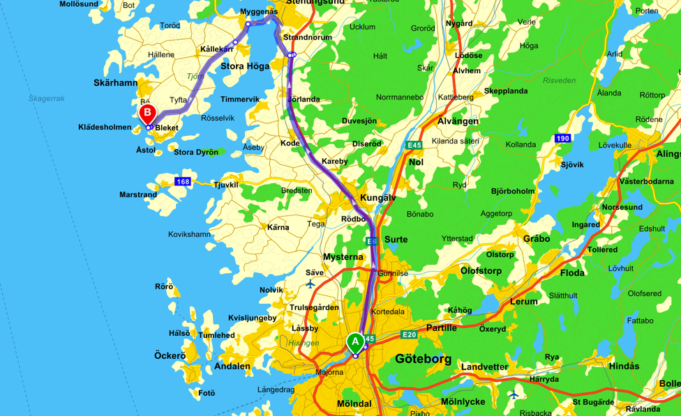 Route to Gothenburg
